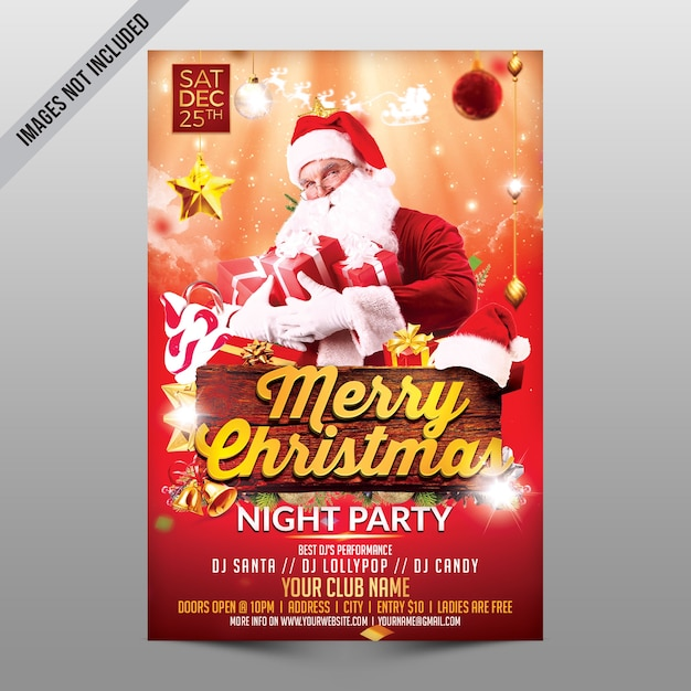Merry christmas night party Premium PSD