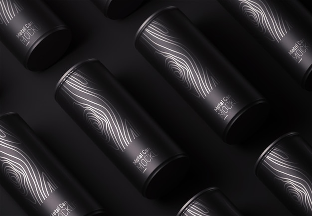 Metal black can verpackungsmuster modell Kostenlosen PSD