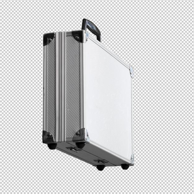 Metallaktenkoffer über weißem hintergrund Premium PSD