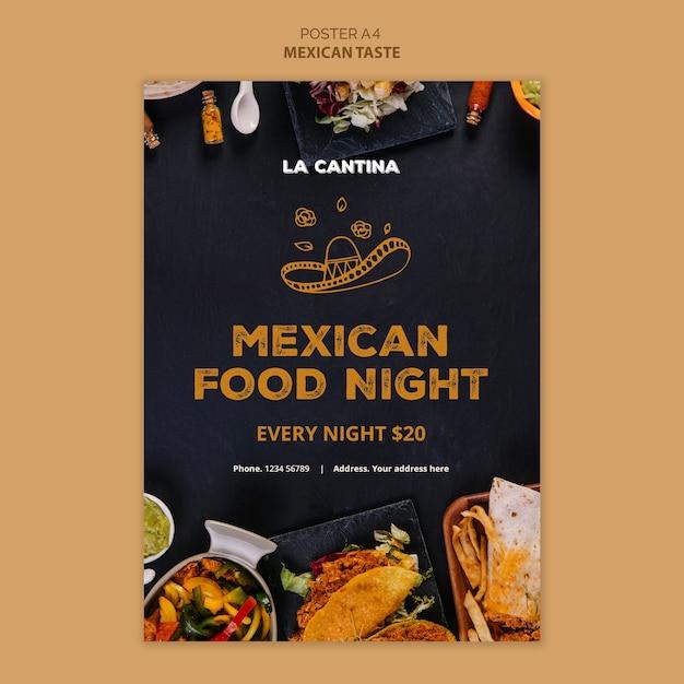 Mexikanisches restaurant plakat vorlagendesign Kostenlosen PSD