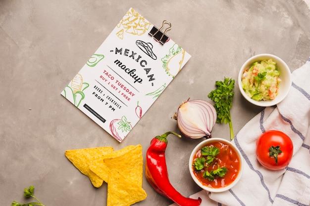 Mexikanisches restaurant zwischenablage neben zutaten Premium PSD
