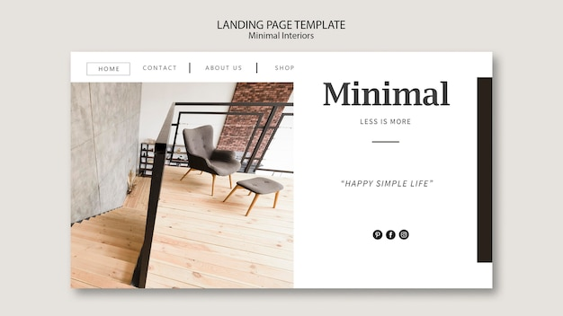 Minimal interieur landing page Kostenlosen PSD