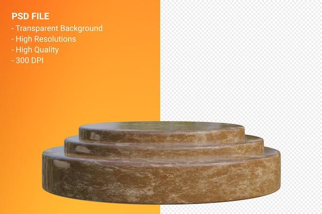 Minimales design des marmorpodiums in der 3d-darstellung isoliert Premium PSD