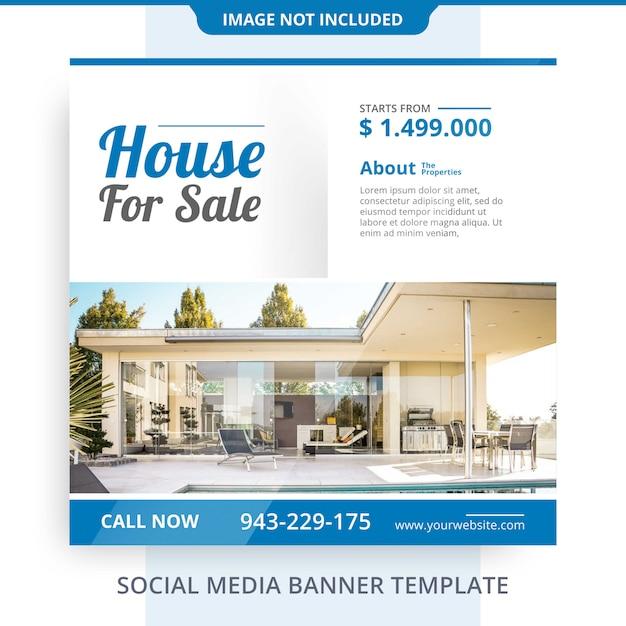 Minimalist agent home for sale immobilien banner promotions vorlage Premium PSD