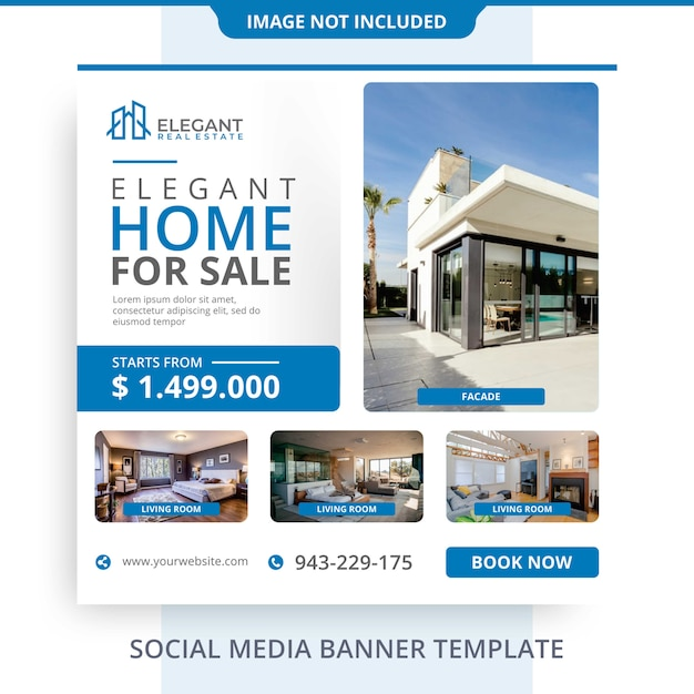 Minimalist agent home for sale immobilien banner promotions vorlage Premium PSD