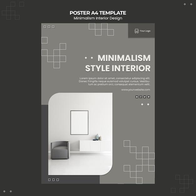 Minimalistische flyer-vorlage für innenarchitektur Kostenlosen PSD