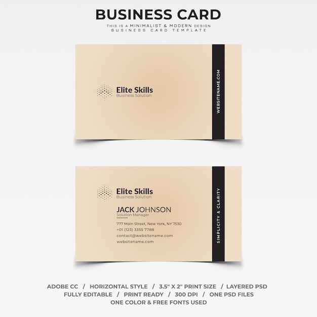 Minimalistische Und Moderne Visitenkarte Premium Psd Datei