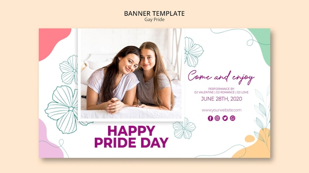 Minimalistischer gay pride template banner Kostenlosen PSD