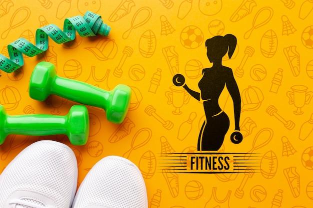 Mock-up fitnessgeräte und schuhe Kostenlosen PSD