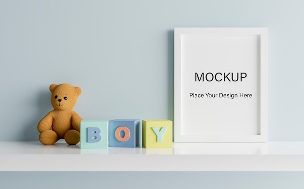 Mock up plakatrahmen mit niedlichen teddybär für eine jungen-babyparty 3d-darstellung Premium PSD