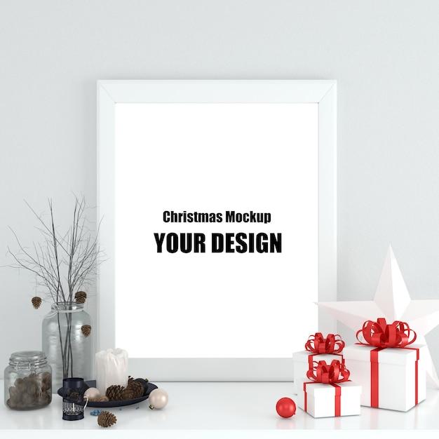 Mock up poster frame in der skandinavischen weihnachts- und winterdekoration Premium PSD