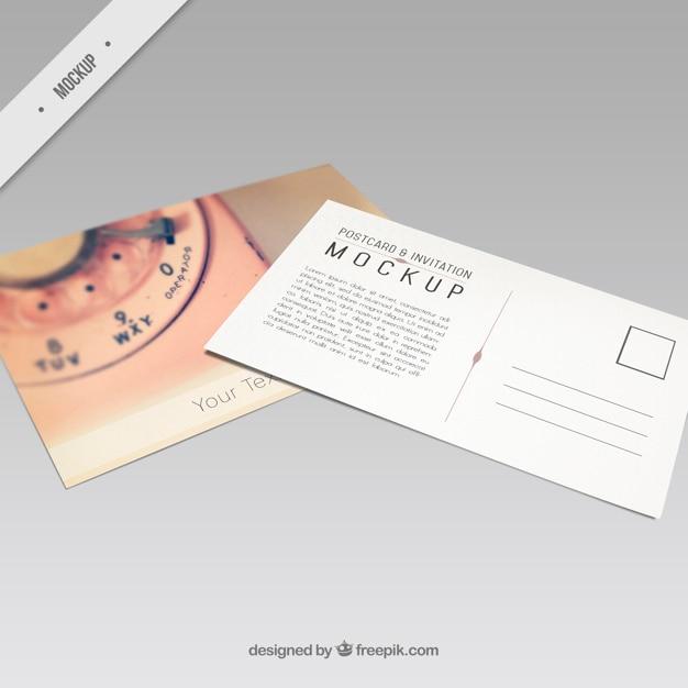 Mockup der postkarte mit einem retro-telefon Kostenlosen PSD