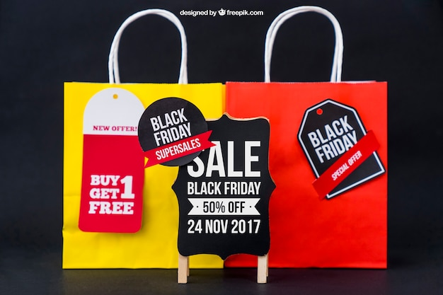 Mockup für schwarzen freitag mit taschen Kostenlosen PSD