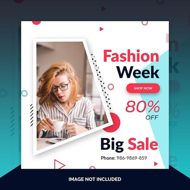 Mode instagram post, quadratische banner oder flyer vorlage Premium PSD
