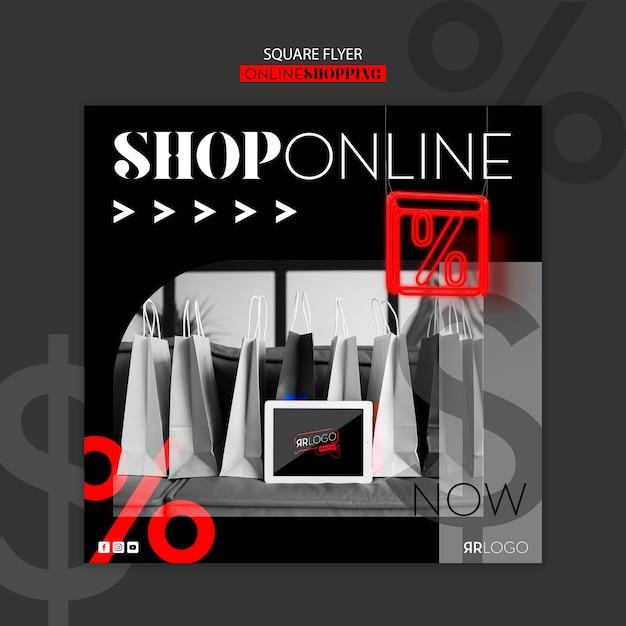 Mode shop online square flyer Kostenlosen PSD