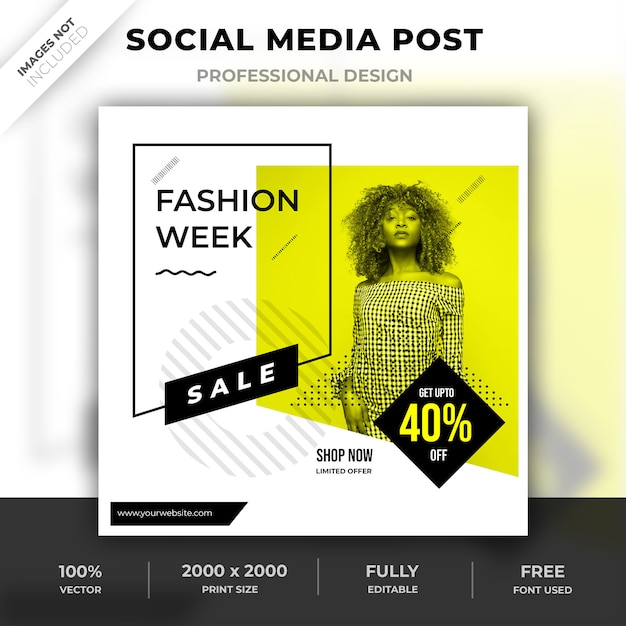 Mode social media post design Premium PSD