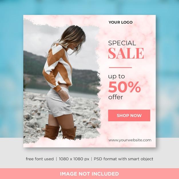 Mode-verkaufs-quadrat-fahnen-schablonen-design für instagram-beitrag Premium PSD