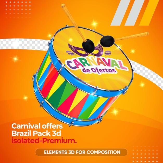 Modell des zabumba-instruments für karneval im 3d-rendering Premium PSD