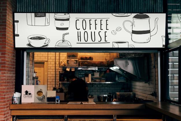 Modell eines kaffeehaus-shops Kostenlosen PSD
