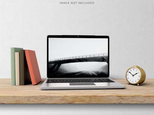 Modell-laptop, der auf dem modernen innenraum des wohnzimmers steht. Kostenlosen PSD