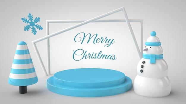Modell von weihnachtsbaum, schneemann, podium und schriftzugrahmen Premium PSD