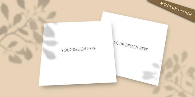 Modellkarte mit blattschatten Premium PSD