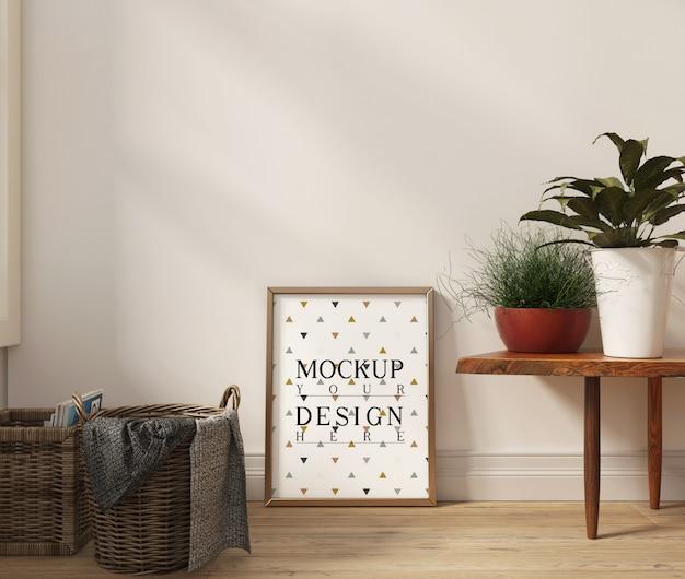 Modellplakat im modernen weißen wohnzimmer mit bank und dekoration Premium PSD