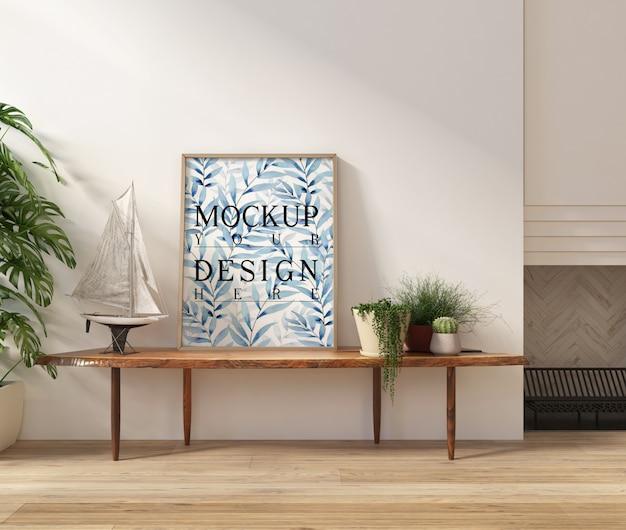 Modellplakat im modernen weißen wohnzimmer mit bank Premium PSD