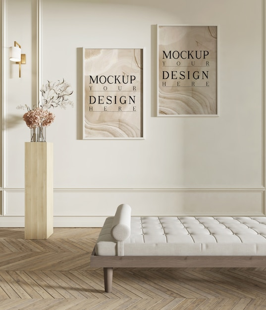 Modellplakat im modernen wohnzimmer mit bank Premium PSD
