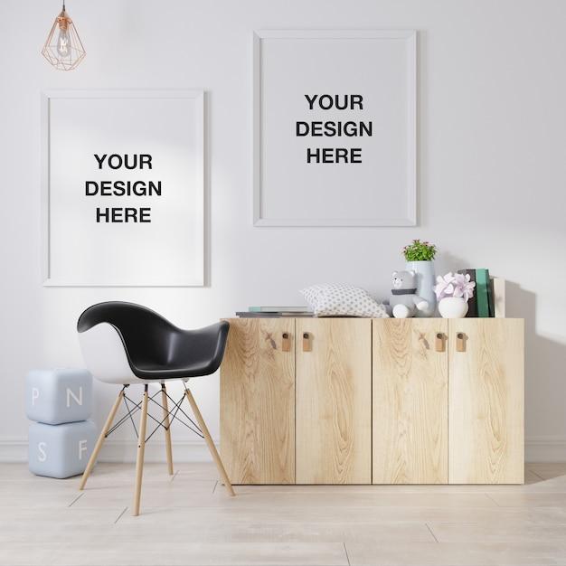Modellplakatrahmen im wohnzimmer Premium PSD