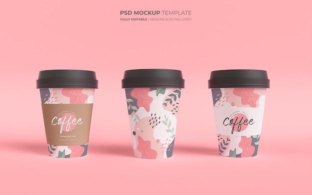 Modellschablone mit kaffeetassen aus papier Kostenlosen PSD