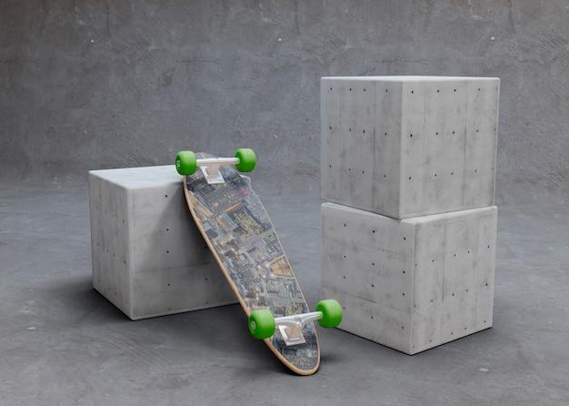 Modellskateboard gedreht, legend auf würfel Kostenlosen PSD