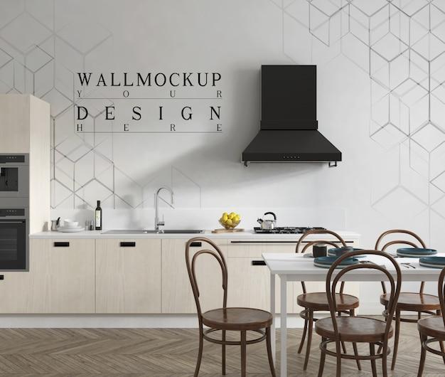Modellwand in moderner zeitgenössischer offener küche und esszimmer Premium PSD