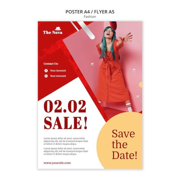 Modeplakatschablone mit foto Kostenlosen PSD