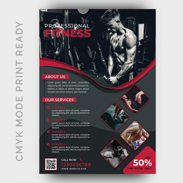 Moderne fitness gym flyer design-vorlage Premium PSD