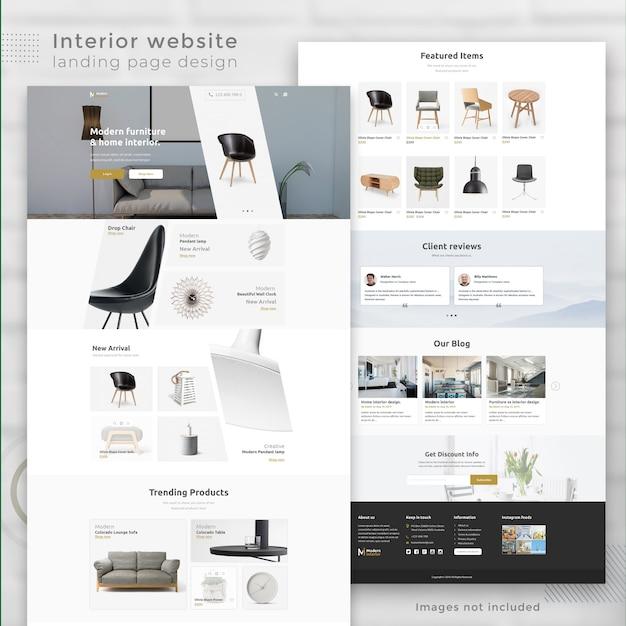 Moderne interieur-e-commerce-website landingpage Premium PSD