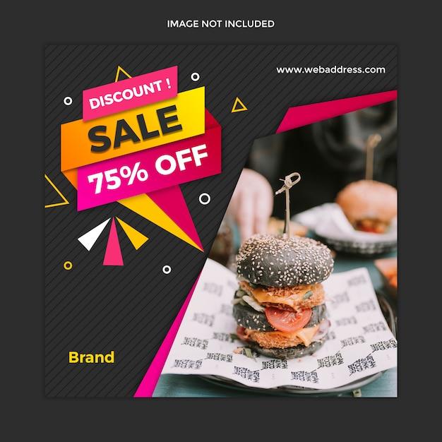 Moderne lebensmittelverkaufsfahne und quadratisches beitragsschablonendesign instagram Premium PSD