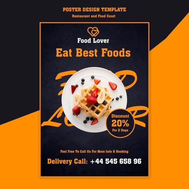 Moderne plakatschablone für frühstücksrestaurant Kostenlosen PSD
