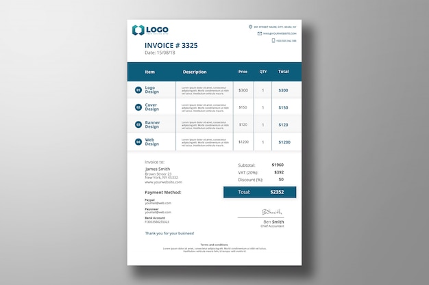 Moderne rechnung photoshop-vorlage Premium PSD