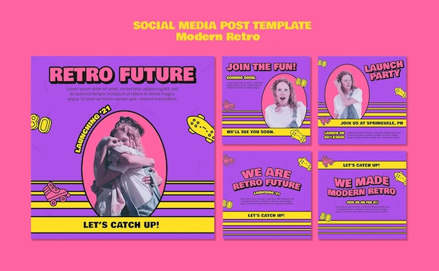 Moderne retro-social-media-beiträge Kostenlosen PSD