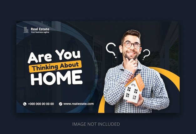 Moderne web-banner-vorlage für immobilien-business-agentur Premium PSD