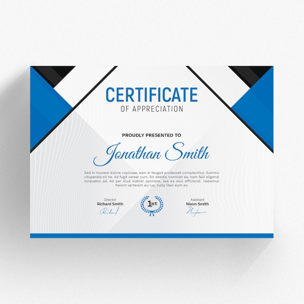 Moderne zertifikatvorlage Premium PSD