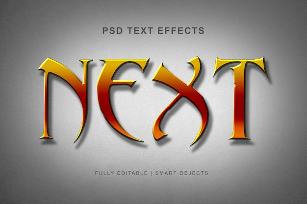 Moderner alphabetguß mit gelbem farbtexteffekt Premium PSD