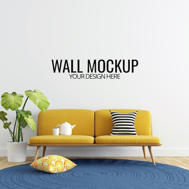 Moderner innenwohnzimmer-wand-modell-hintergrund Premium PSD
