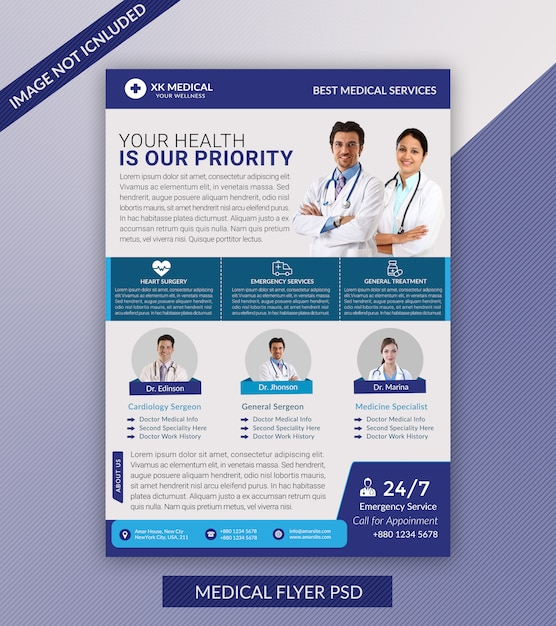 Moderner medizinischer flyer Premium PSD