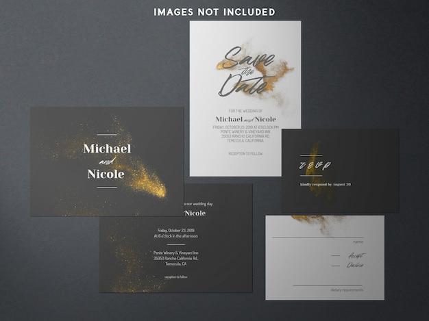Modernes branding identity modell blau und gold Premium PSD