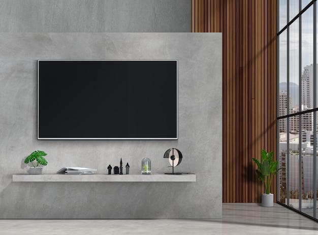 Modernes innenwohnzimmer mit intelligentem fernsehen Premium PSD