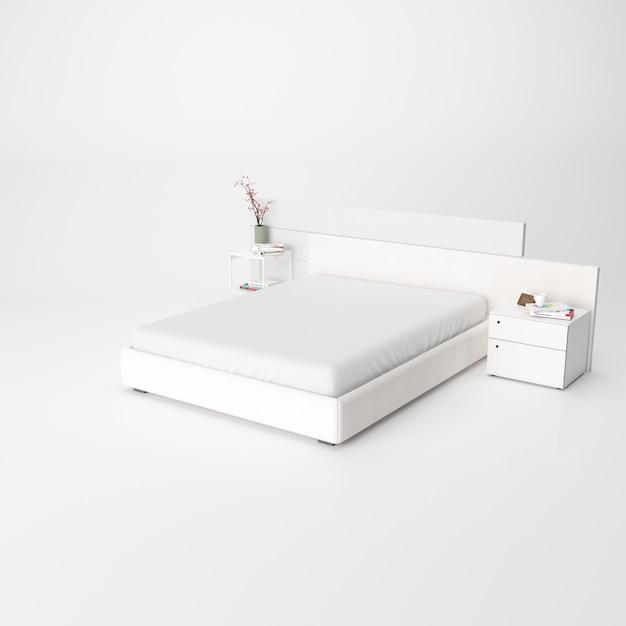 Modernes schlafzimmer interieur isoliert Kostenlosen PSD