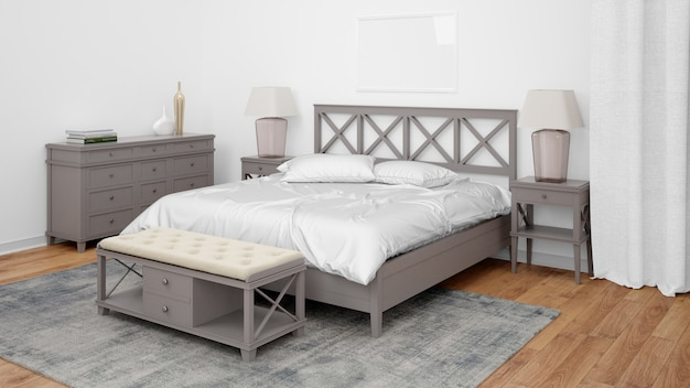 Modernes schlafzimmer oder hotelzimmer mit doppelbett und eleganten möbeln Kostenlosen PSD