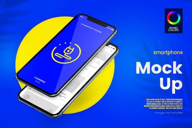 Modernes smartphone- und app-mockup-design Premium PSD